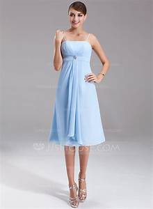empire knee length chiffon bridesmaid dress with crystal With robe forme empire
