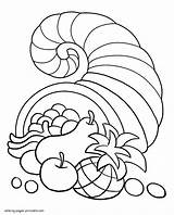 Coloring Pages Thanksgiving Printable Cornucopia Holidays Colouring sketch template