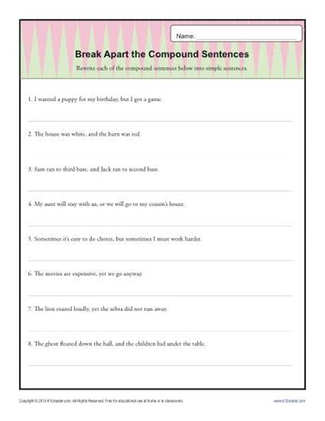 break   compound sentence sentence structure