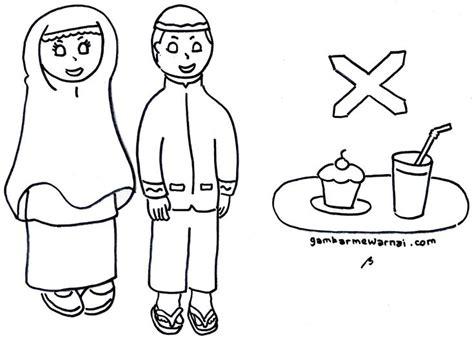 gambar mewarnai anak latihan berpuasa ramadhan anak