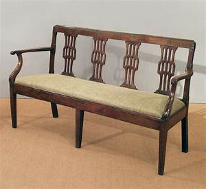 Antique French cherry wood settee, antique bench, antique