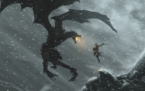 The Elder Scrolls V Skyrim Video Games Alduin Dragon
