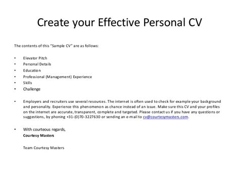 courtesy masters cv exle create your effective personal cv