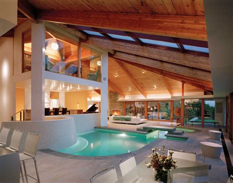 Beautiful Stone And Wood House With Indoor Swimming Pool