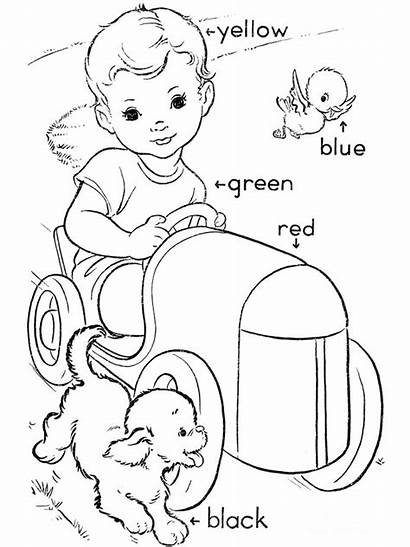 Coloring Pages Words Learning Colors Primary Sight