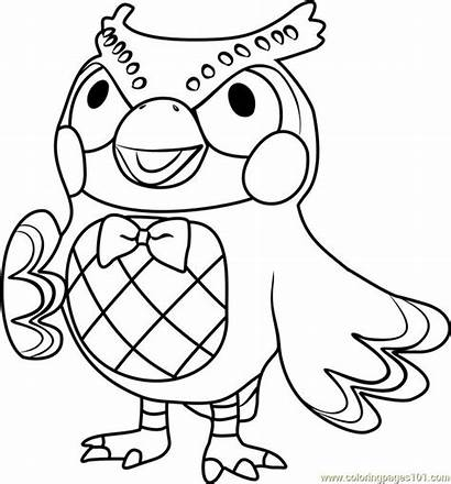 Crossing Animal Coloring Blathers Colouring Printable Leaf
