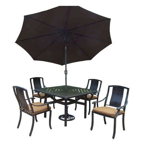 7 Patio Dining Set With Umbrella by Oakland Living 7 Square Aluminum Patio Dining Set