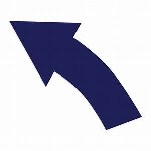 32 Inch Blue Removable Curved Left Arrow | ifloortape.com