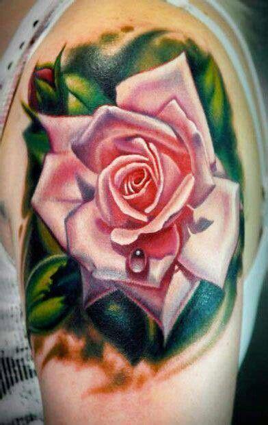 realistic pink rose dew drop tattoo
