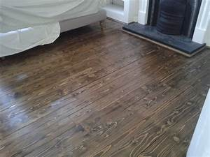 Pine floorboards sanded stained dark jacobeanoak and for Pine floors stained dark