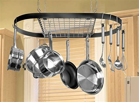 Pot And Pan Holders Ceiling by Pot And Pan Hanging Rack Hook Ceiling Mount Oval Wrought