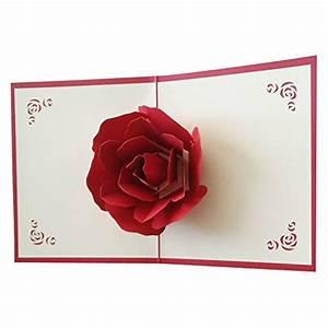 Osunp big rose 3d pop up greeting cards fantastic flower for 3d rose wedding invitations