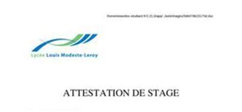 modele attestation de stage word mod 232 le type rapport de stage