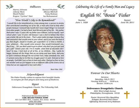 funeral obituary template 6 funeral program layout authorizationletters org