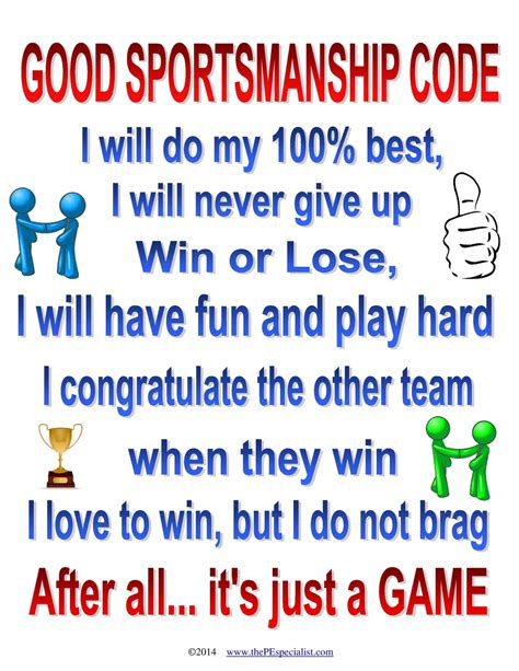 good sportsmanship code pe teacher resources teaching