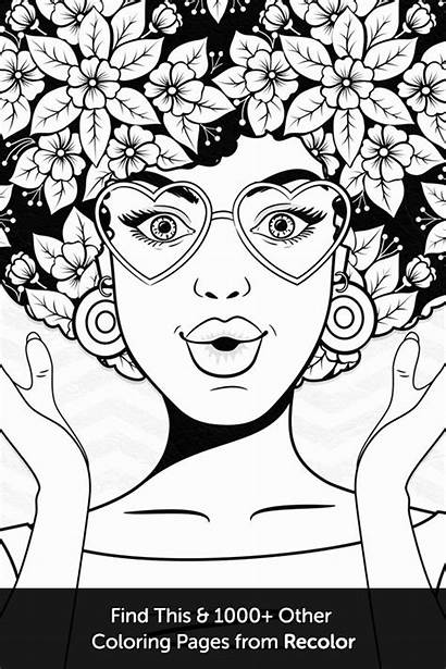 Coloring Pages Adult Pop Hair Drawing Books