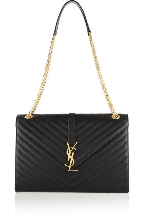 saint laurent womens monogram medium shoulder bag  black lyst