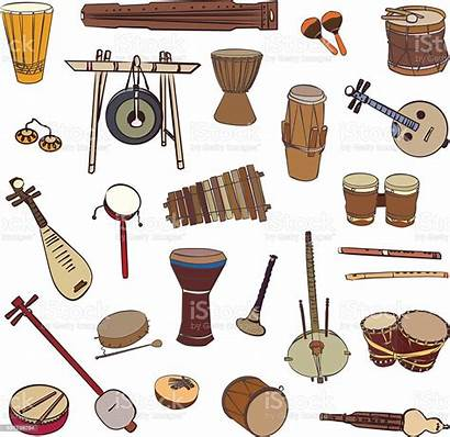 Instruments Musical Traditional Ethnic Africa Vector Illustration