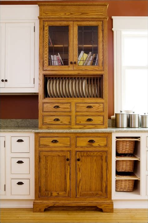 kitchen plate cabinet floor to ceiling oak cabinet unit with lead taped glass 2443