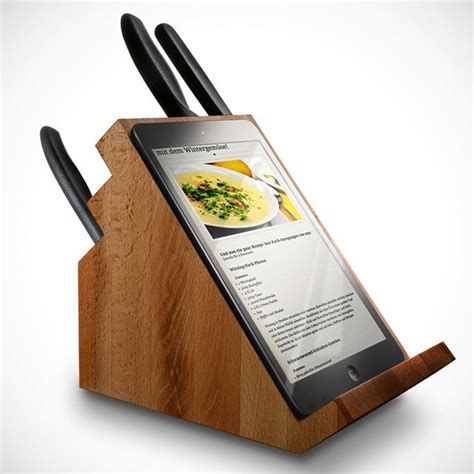 support tablette cuisine bloc de couteaux porte tablette tactile