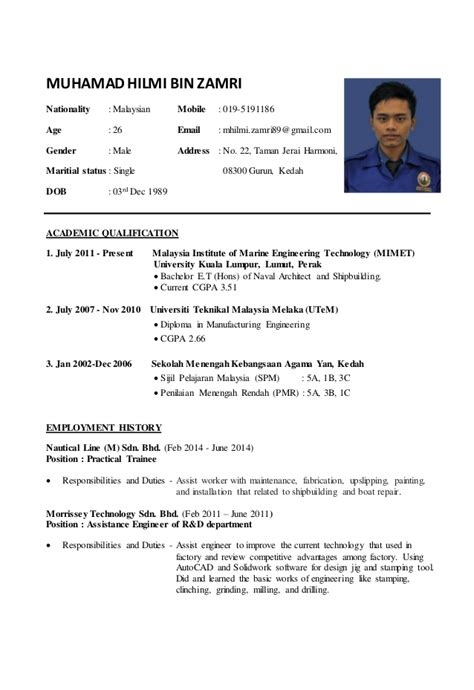 Exle Resume In Malaysia by Resume Hilmi 2015