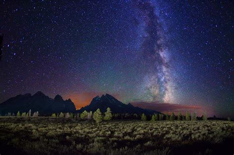 Starry Night Night Stars Landscape Milky Way Trees