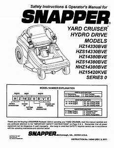 Snapper Lawn Mower Hz14330bve User Guide