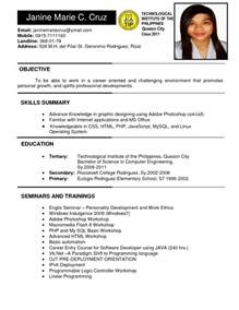 resume format for ojt information technology students should know philippines resume sle resumes design