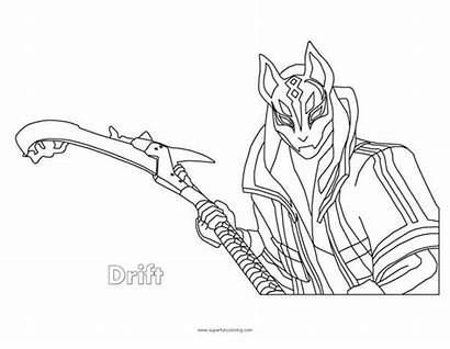 Coloring Drift Fortnite Pages Max Draw Printable
