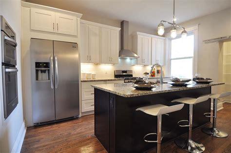 updated kitchen white shaker cabinets   espresso
