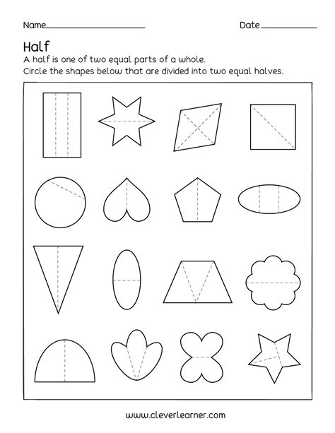 activity on fractions half 1 2 worksheets for children