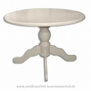 Est 58 R Esstisch Tisch Rund Weiss Massiv Holz Landhausstil