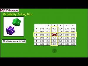 Dice Chart Probability Of Rolling Dice Youtube