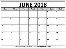 Calendar For June 2018 Free Printable Blank Calendar
