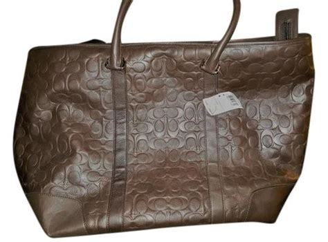 coach brown leather monogram weekendtravel bag tradesy