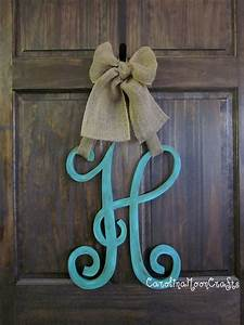 single letter monogram wooden door decor 18 inches by With wooden initial letters for door