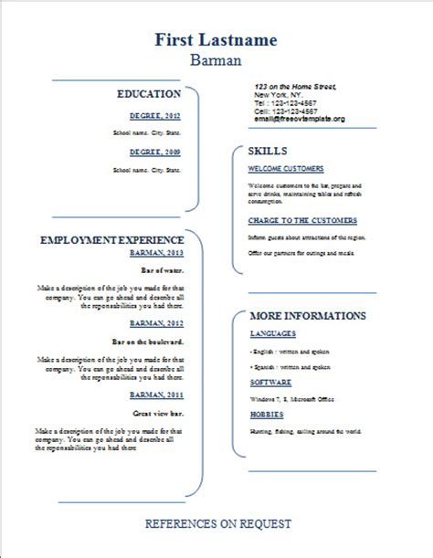 Free Resume Sign Up by Curriculum Vitae Free Cv Template Dot Org