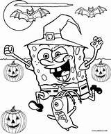 Spongebob Coloring Halloween Printable Cool2bkids sketch template