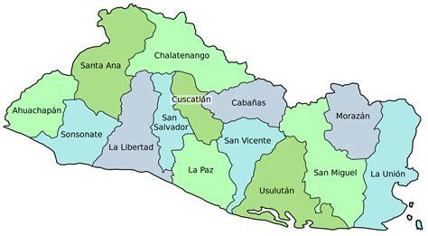 Mapa Político de los Departamentos de El Salvador | Mapas ...