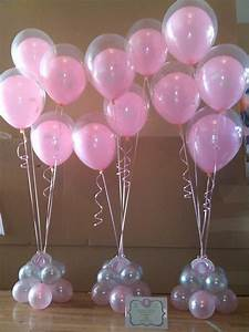 Pink and gold baby shower balloon centerpiece google for Wedding shower balloons