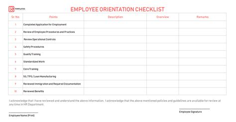 employee orientation checklist word excel