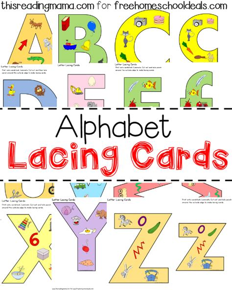 alphabet lacing cards instant