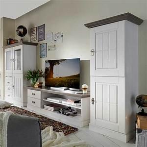 Beistelltisch Weiß Landhaus : landhaus wohnwand julan in wei grau kiefer ~ Watch28wear.com Haus und Dekorationen