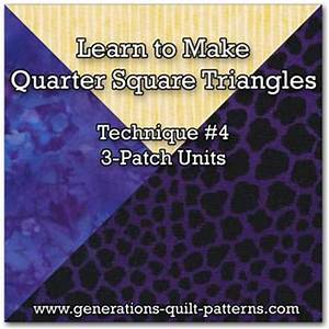 3-Patch Quarter Square Triangle Block: Step-by-Step