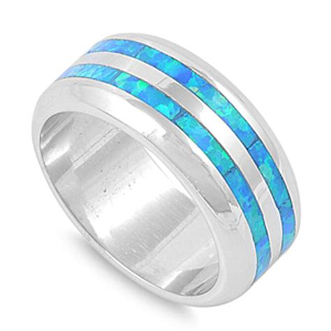 men s wedding band blue lab opal fashion ring new 925 sterling silver sizes 6 10 ebay