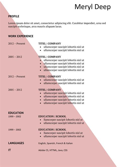 Dynamic Resume Templates Free by Pink Triangle Free Cv And Cover Letter
