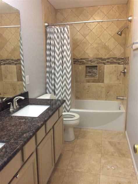 bathroom remodel travertine tan brown granite grey