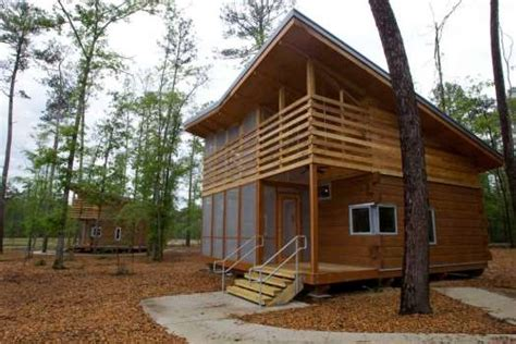 lake houston wilderness park cabins a pair of newly built cabins are seen across a made