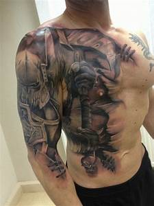 Awesome battle knight tattoo - interesting running it from ...