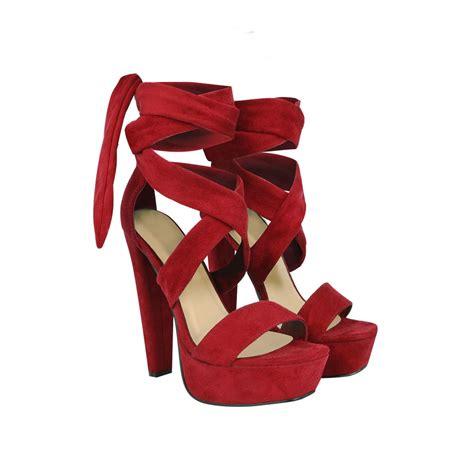 grey suede tie lace  ankle strap peep toe block platform